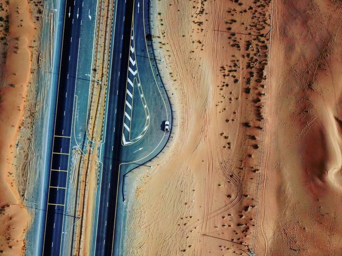 Pit stop in the desert Drone Photography Droneviews Mavicpro Dji Drone  No People Road High Angle View Land Vehicle Day Aerial View Nature Outdoors Sand Dune