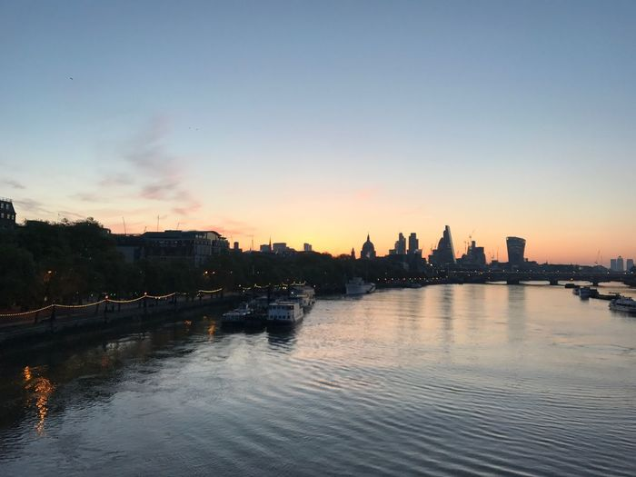 Thames LONDON❤ Wide Angle Ugly New Building Shaped Like A Cigar Sunrise from Waterloo Bridge