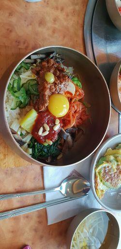 비빔밥 Bibimbab Egg Yolk Meat Egg High Angle View Vegetable Fried Egg Close-up Food And Drink Omelet First Eyeem Photo