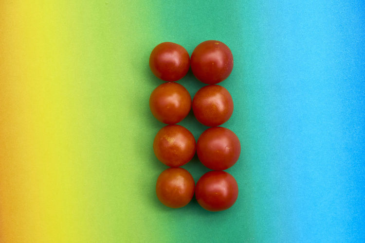 Arrangement Blue Blue Background Close-up Colored Background Directly Above Egg Food Food And Drink Freshness Green Color Group Of Objects Healthy Eating Indoors  Large Group Of Objects No People Order Raw Food Ripe Still Life Studio Shot Tomato Wellbeing