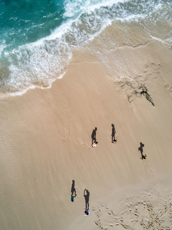 HIGH ANGLE VIEW OF PEOPLE ON SAND AT BEACH
