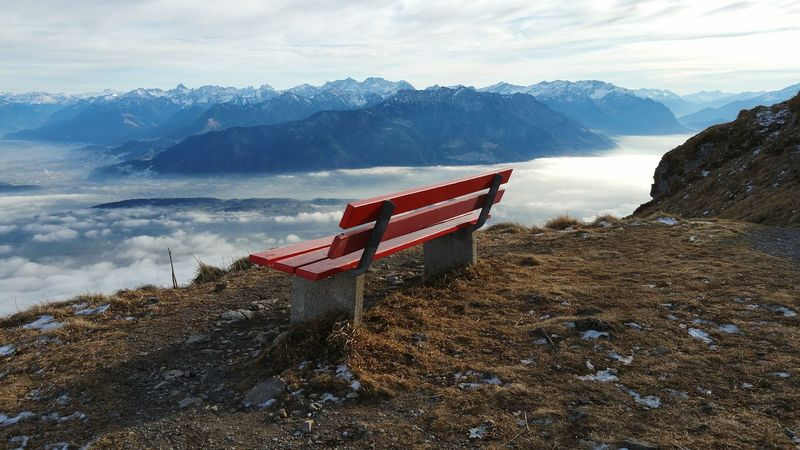 Banch No People Outdoors Nature Sky Alone Over View Mountain View Red Banch Swiss Mountain Day Break On Top My Place To Relax My Place Thinking About Life Thinking Place Vision Place For Relax Premium Collection Breathing Space