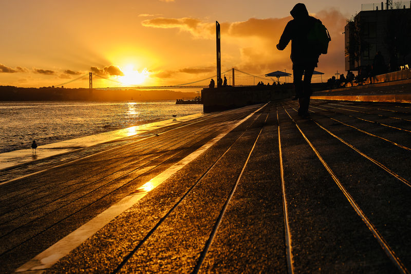Rear view of silhouette man standing on sea against sky during sunset