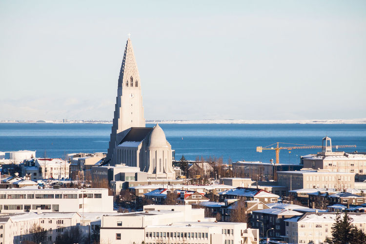 Reykjavik city view of Hallgrimskirkja from Perlan Dome, Iceland Water Day Sky Architecture Building Exterior Nature Outdoors Hallgrìmskirkja Reykjavik Reykjavik Skyline HALLGRÍMSKIRKJA CHURCH Hallgrimskirkjachurch