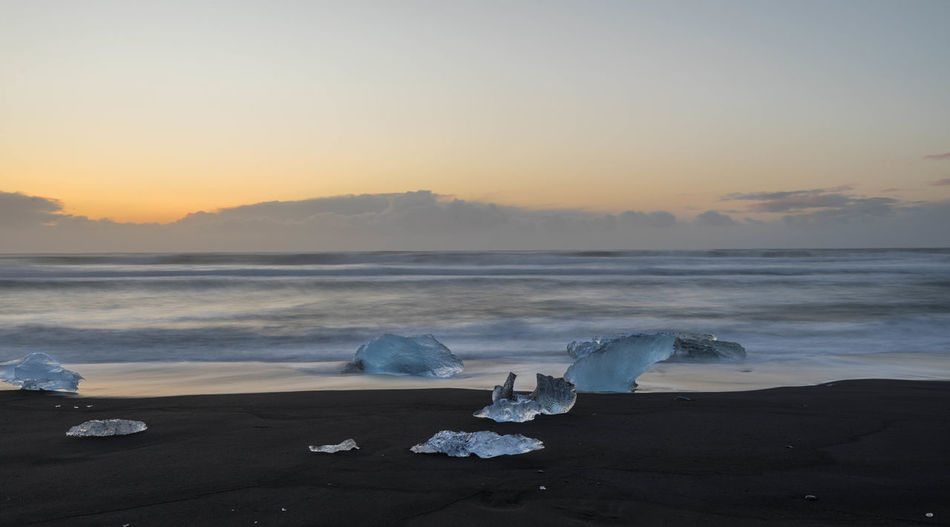 Beach Beauty In Nature Cold Temperature Day Horizon Over Water Ice Iceberg Nature No People Outdoors Salt - Mineral Sand Scenics Sea Sky Sunrise Tranquil Scene Tranquility Water Wave Winter