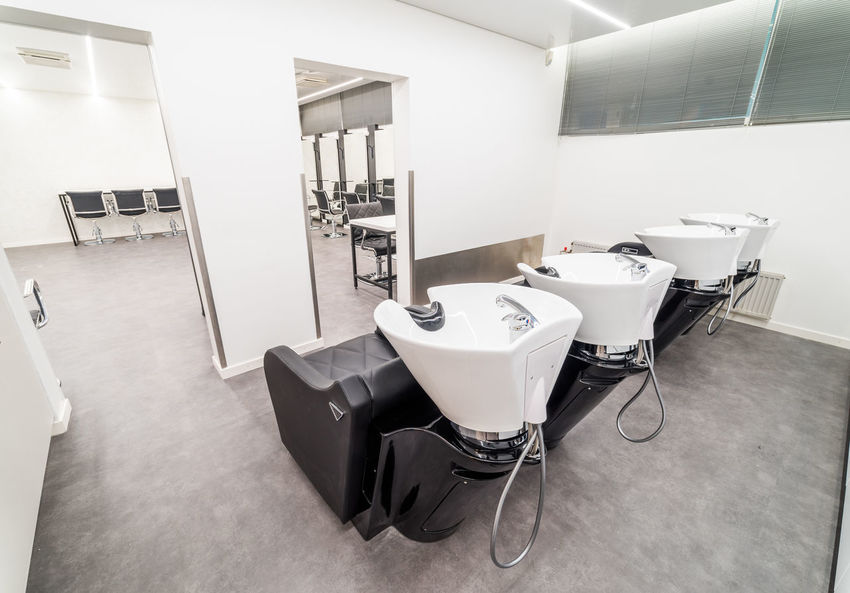 Hairdresser School Barber Shop Chair HAIR WASH Sink Barber Chairs Beauty Salon Chairs Chairs Seats Chairswithstories Day Hair Dresser Hairwashing Stations Indoors  Mirrors No People Public Places School Vinyl Ceiling