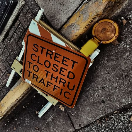 The Street Photographer - 2017 EyeEm Awards Street Sign Road Closed Sign Road Closed Construction Road Construction Tipped Over Orange
