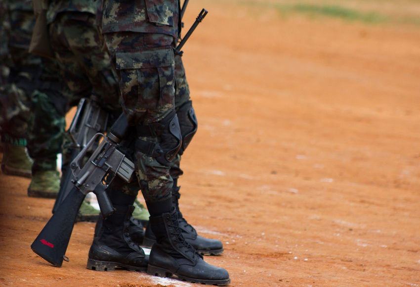 Unidentified A Soldier at Shan State in Myanmar Armed Forces Army Army Soldier Camouflage Clothing Clothing Day Government Gun Human Limb Low Section Men Military Military Uniform Outdoors People Protection Real People Rifle Security Special Forces Standing Uniform Weapon
