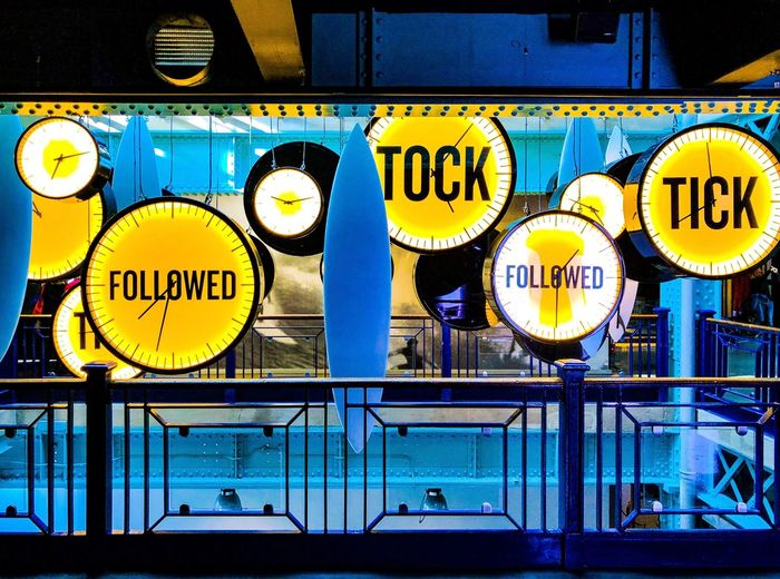 Tick Tock - Guinness Storehouse Tock Tick Clock Surfboard Blue Yellow Marketing Guinness Storehouse Dublin Ireland Mobile Photography IPhone Photography IPhone IPhoneography ShotOnIphone Text Communication Night Illuminated No People Outdoors Hanging