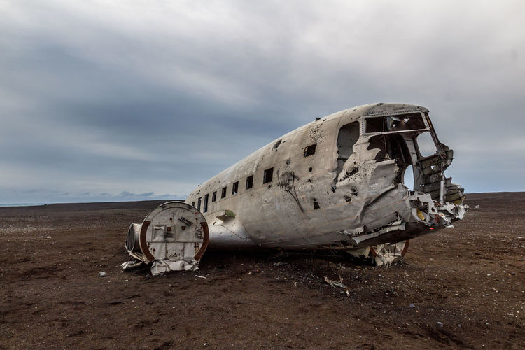 Abandoned Accidents And Disasters Air Vehicle Airplane Cloud - Sky Crash Damaged Day Desolate Destruction Military Airplane Nature No People Obsolete Outdoors Sand Sky Sunken Transportation EyeEmNewHere