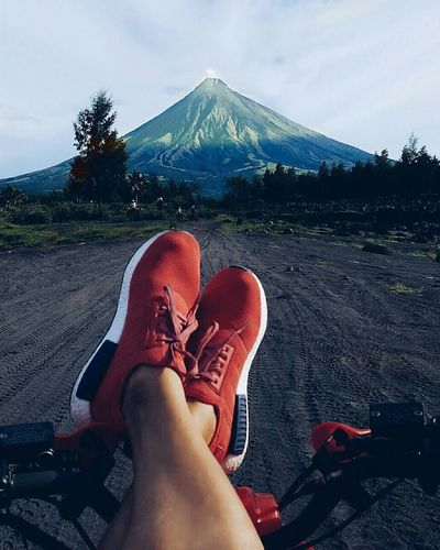 Out Of The Box ive travelled land and sea just to witness this magnificent morning @ Mayon Volcano Philippines Sneakers Travel Companion Adidas Nmd Human Leg Low Section Mountain Sky One Person EyeEm Best Shots Nature Nature Photography Travel Wanderlust Human Body Part
