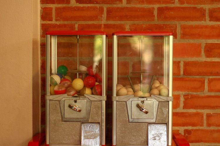 Vegetables on glass window