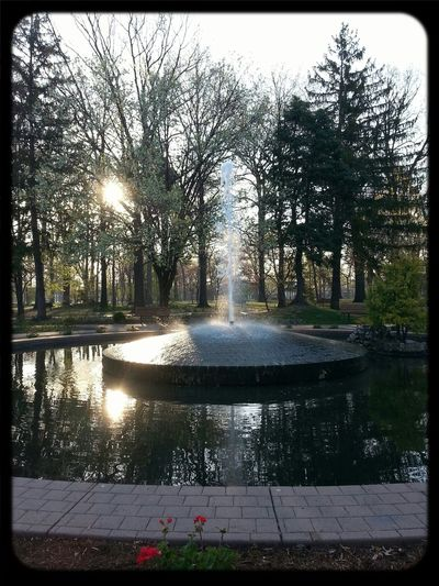 A fountain on Easter morning.