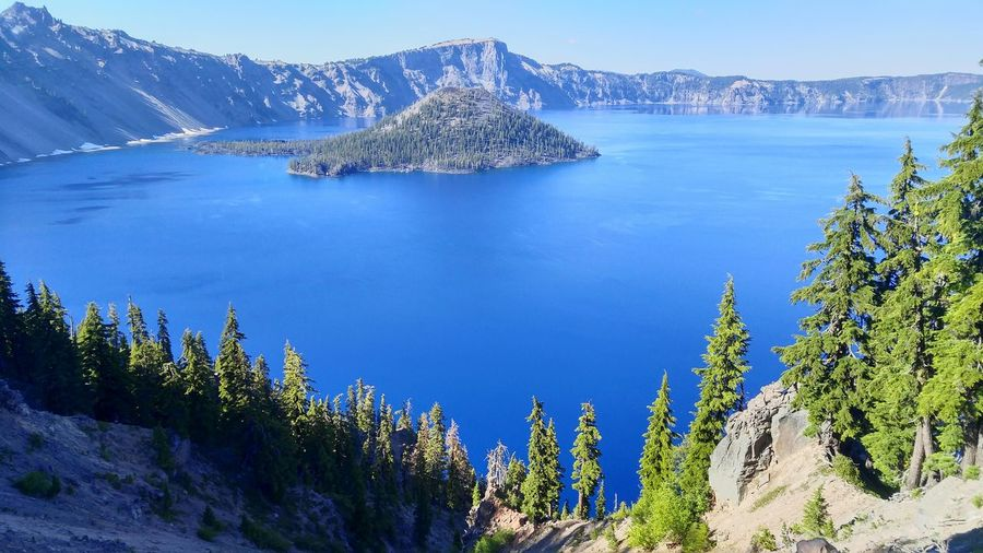 Scenic View Of Wizard Island In Crater Lake