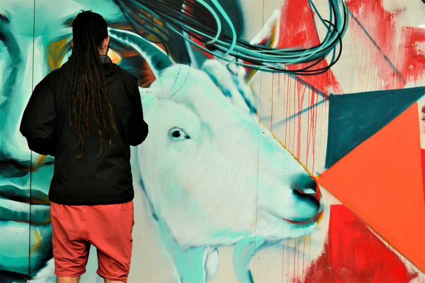 Colours Graffiti Street Art/Graffiti Adult Adults Only Artists At Work Day Domestic Animals Indoors  Leisure Activity Lifestyles Mammal One Person People Real People Rear View Standing Three Quarter Length Urban Landscape Women Young Adult