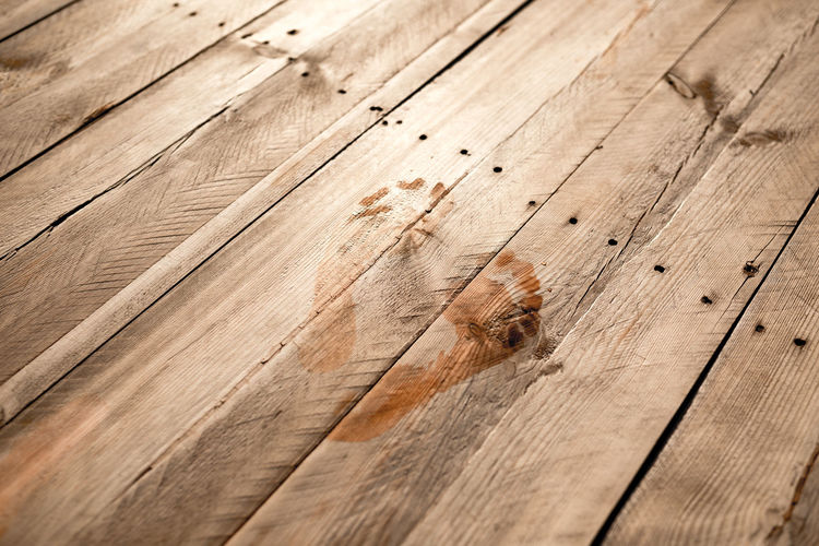 High angle view of footprint on wooden plank