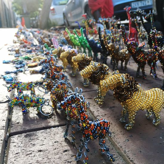 African Animals Handmade Accessories Handcrafted Beads Brightcolors Keyring South Africa Maboneng Precinct Focus On Foreground DIY Street Photography Diy Project Street Vendor
