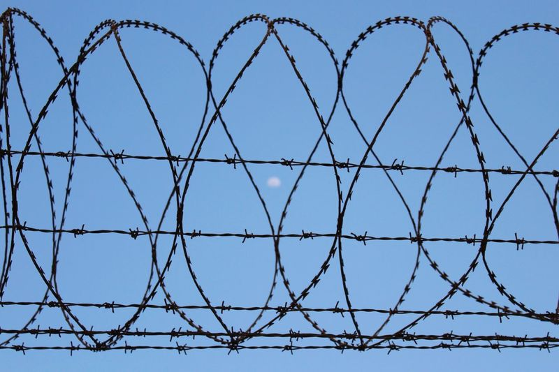 The moon is behind..!! Moon Technology Razor Wire Barbed Wire Protection Safety Metal Security Chainlink Fence Sky Wire Mesh Wire Electricity Tower