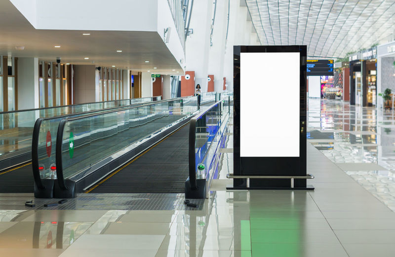 Blank billboard posters in the airport.