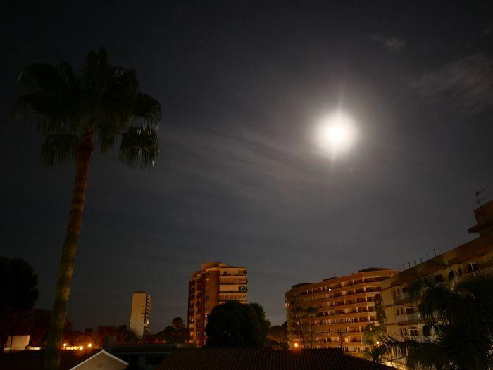 moon on Benicasim Night Astronomy Architecture Building Exterior Urban Skyline