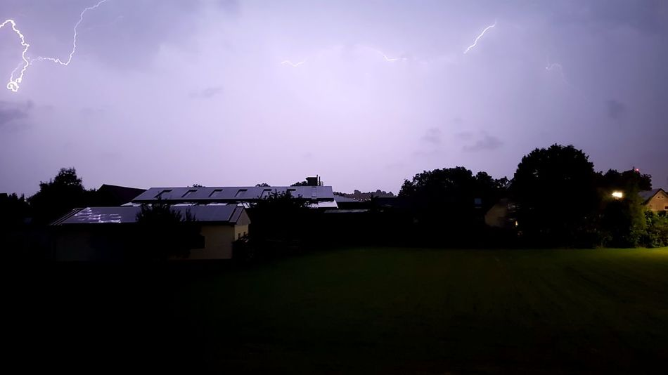 Landscape Tree Outdoors Built Structure No People Building Exterior Rural Scene Sky Nature Night Architecture Beauty In Nature Lightning thunder