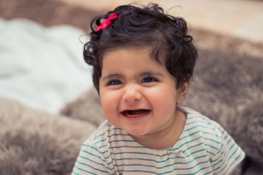 Baby Girl Girl Childhood Child Portrait Innocence One Person Cute Striped Real People Front View Emotion Baby Headshot Happiness Smiling Young Mouth Open