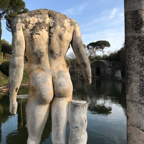 Sculpture Outdoors Reflection Water Cloud - Sky No People Eye4photography  Nofilter Body Part Sky Statue Rome Photographylovers EyeEm Best Shots Villa Adriana