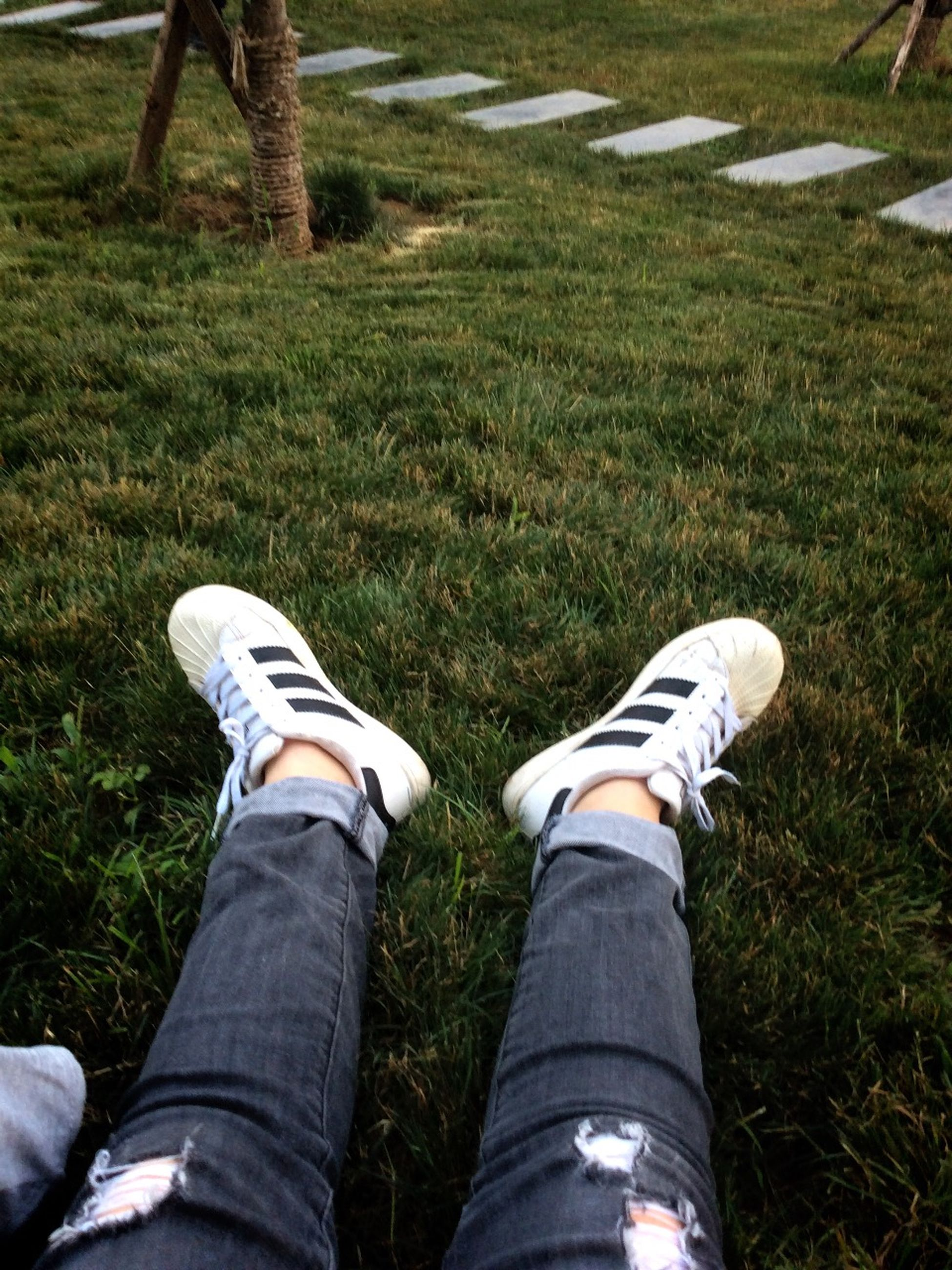 low section, person, shoe, lifestyles, men, leisure activity, jeans, personal perspective, standing, footwear, grass, casual clothing, human foot, field, unrecognizable person, day, canvas shoe