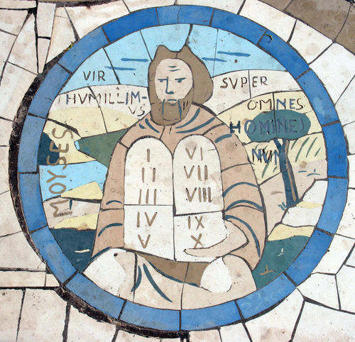 Moses holding the Ten Commandments, Mosaic in front of the church on the Mount of Beatitudes Beatitudes Belief Biblical  Christianity Church Galilee Historical Holy Israel Jesus Middle East Mosaic Moses Mount Religion Religious  Saint Sermon Shrine Spiritual Stone Ten Commandments
