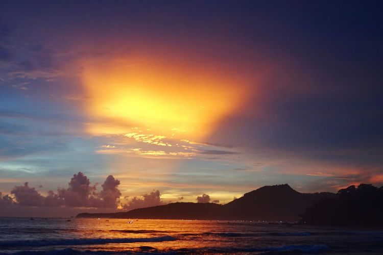Memorable Sunset at the Sunset Paza Beach in South Java