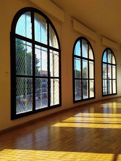 Interior of empty glass window of building