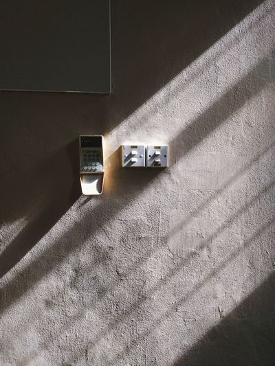 Close-up and shadows of switches at home