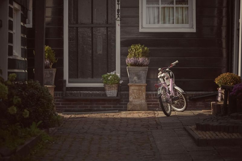 View Of Bicycle Parked By Building