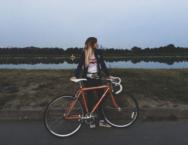 Water Young Women Full Length Bicycle Lake Standing Portrait Women Long Hair Sky