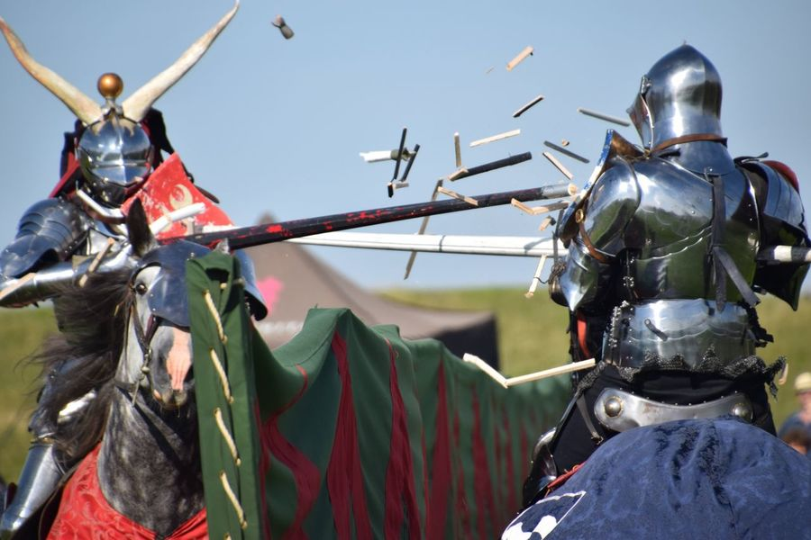 Hanging Helmet No People Transportation Outdoors Day Low Angle View Clear Sky Sky Close-up Medieval Festival Mounted Riders Jousting Display Jousting Armour Contact Wood Splinters