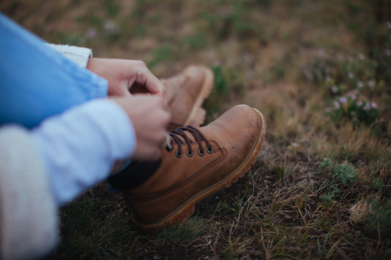 Boot,  Close-Up,  Day,  Field,  Grass