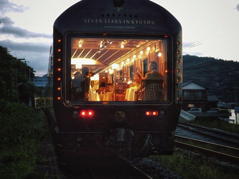 Saturday Evening Seven Stars in Kyushu ななつ星 Rear View Kyushu Railway Company. Cruise Train / Okusa Station Isahaya City, Nagasaki prefecture Japan Photography Creative Light And Shadow LEICA D SUMMILUX 25mm
