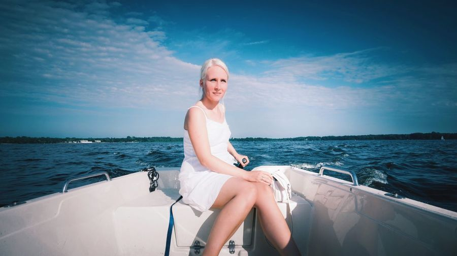 - CAPTAIN ★ N \ VEA - Things I Like Boat Ride Boattrip Blue Bluesky Blue Sky Boat Check This Out White Dress Blonde Blonde Girl Captain Blonde Hair Cloud - Sky Clouds Müggelsee Berlin My Fuckin Berlin Lakeview Outside Photography ThatsMe Selfie ✌ Place Of Heart Breathing Space