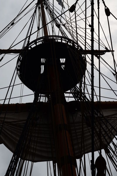 Crows Nest Rigging Silhouette Sky Tall Ship