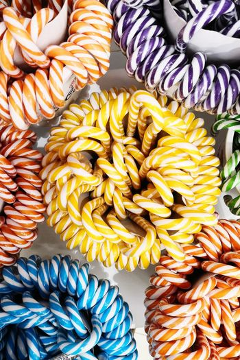 High angle view of colorful candies
