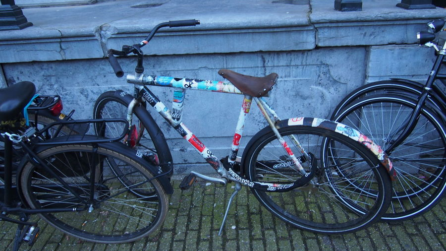 Bicycle parked on bicycle