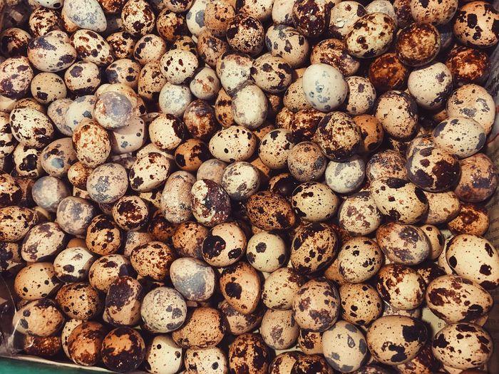 Full frame shot of quail eggs