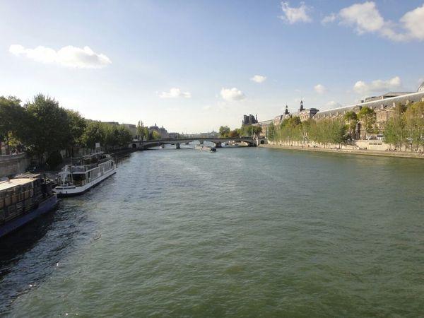 River Paris France Landscape At Quais De Seine Seine La Seine