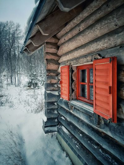 View of snow covered house