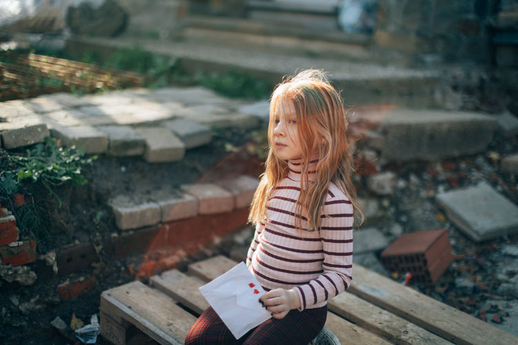 A young girl with a love letter
