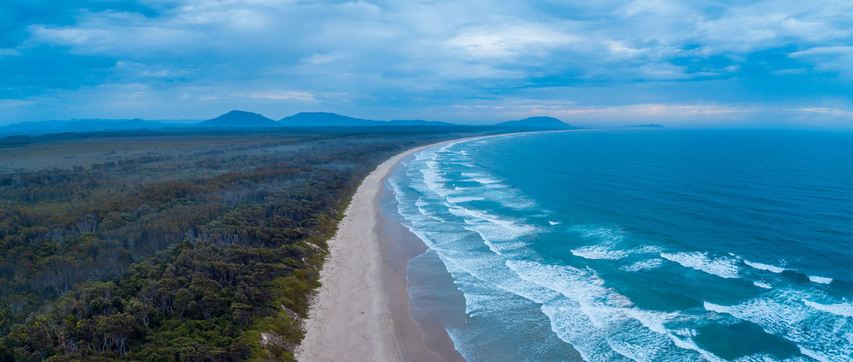 Aerial panorama of crowdy bay coastline. crowdy head, new south wales, australia