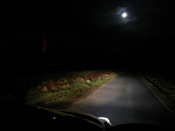 The Moon Night Transportation Car Illuminated No People Dark Road Outdoors Nature Sky My Car Winter Hill Lancashire UK
