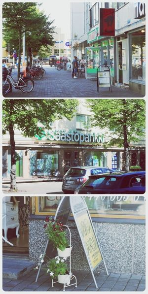 """Some shops (and bank :"""")) here and there. Valkeakoski Shops Summer Green"""