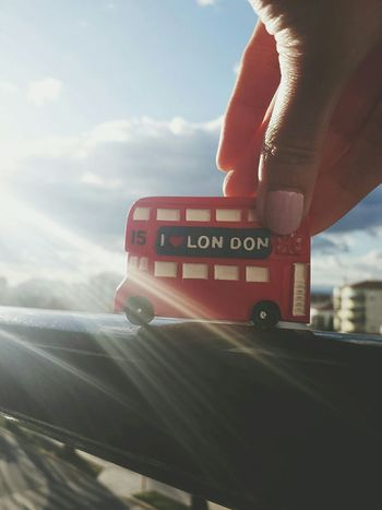 London Bus Iman Red Bus Sunny Day