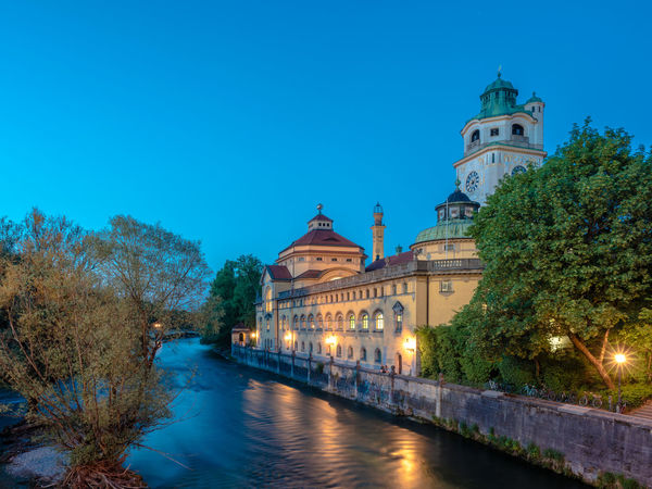 Architecture Baroque Revival Architecture Blue Hour Clear Sky Isar Jugendstil Munich Müllersches Volksbad München Night Photography Baroque Style Blue Sky Germany Long Exposure Public Bath River Slow Shutter Smooth Water Travel Destinations